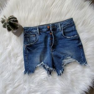 ZARA Trafalue Distressed Raw Hem Jean Shorts